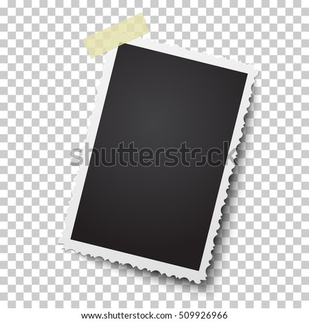 Realistic vector retro photo frame with figured edges on sticky tape. Template photo design.