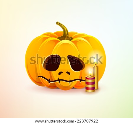 Realistic vector sad Halloween pumpkin with a carved face of it. Unhappy pumpkin for Halloween with candles. Happy Halloween. Happy autumn. - stock vector