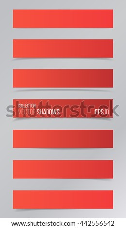 Realistic vector shadow, set of transparent realistic linear paper shadow  vector illustration