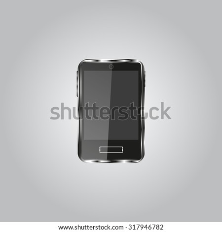 Realistic vector smartphone isolated on white.