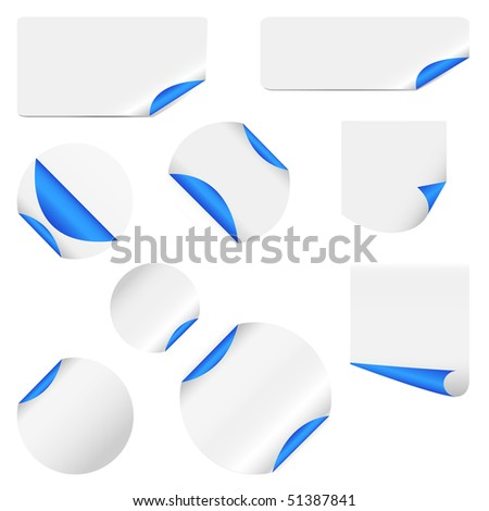 realistic vector stickers with peeling corners - stock vector
