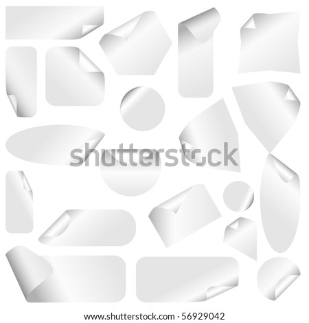 Realistic vector stickers with peeling corners. - stock vector