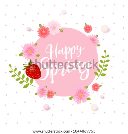 Realistic vector strawberries spring design strawberries stock realistic vector strawberries spring design with strawberries and pink flowers beautiful poster sale mightylinksfo