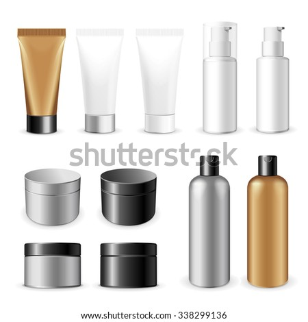 Realistic vector template.  Tubes and plastic boxes of cream or medical product on white background. - stock vector