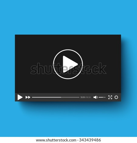 Realistic video player with shadow - stock vector