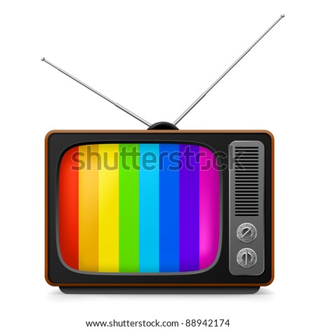 Realistic vintage TV with color frame. Illustration on white background for design - stock vector