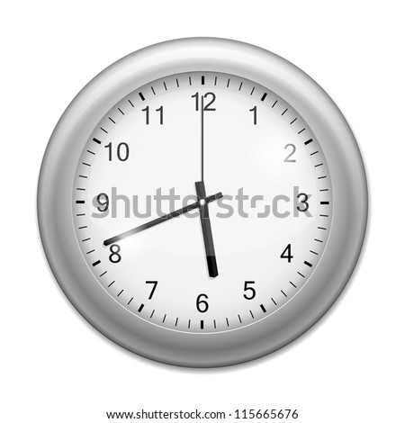 Realistic Wall Clock isolated on white. Vector Illustration - stock vector