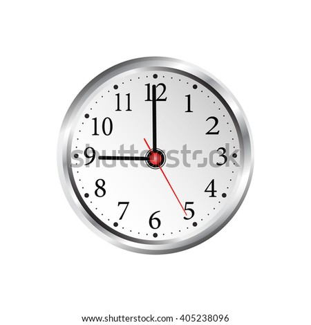 Realistic wall clock on a white background.  vector illustration. - stock vector