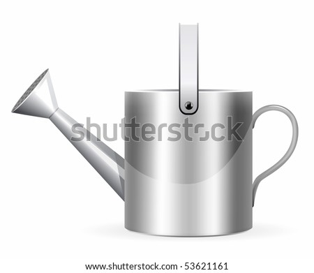 Realistic watering can illustration on white background