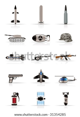 Realistic weapon, arms and war icons - Vector icon set - stock vector
