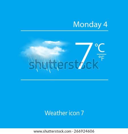 Realistic weather icon - cloud, light rain. Vector illustration - stock vector