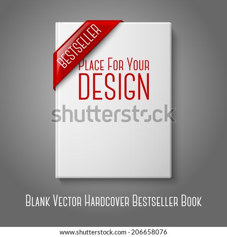 Realistic white blank hardcover book, front view with red best seller corner ribbon. Isolated on grey background for design and branding. Vector - stock vector