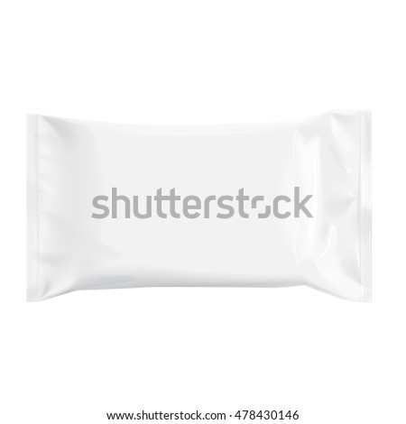 Realistic White Blank template Packaging Foil for wet wipes. 3d realistic foil package. Package for food. Template For Mock up Your Design. vector illustration.