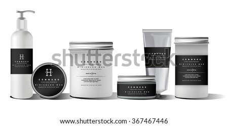 Realistic white cosmetic cream container and tube for cream, ointment, toothpaste, lotion Mock up bottle. Gel, powder, balsam, with design label. Soap pump. Containers for bulk mixtures.  - stock vector