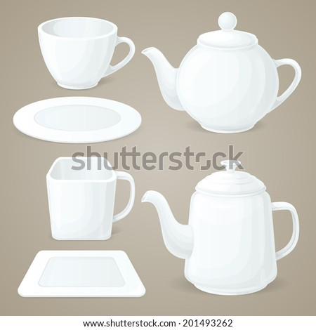 Realistic white crockery set of tea pot and coffee cup isolated vector illustration