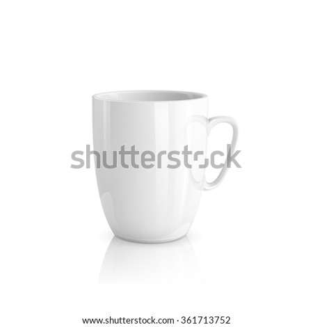 Realistic white cup - stock vector