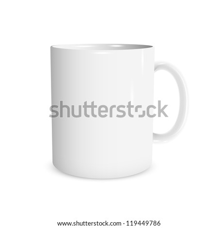 Realistic white cup. Vector illustration - stock vector