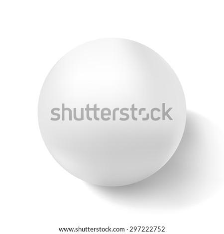 Realistic white 3d sphere on light background. Vector illustration. - stock vector
