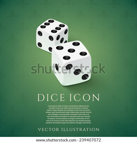 Realistic white dice icon on green background. Vector illustration - stock vector