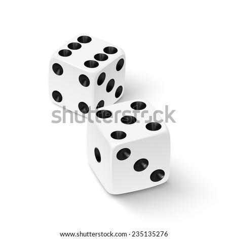 Realistic white dice icon. Vector illustration - stock vector
