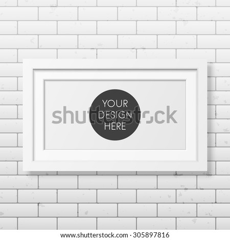 Realistic white frame on the brick wall background. It can be used for presentations. Vector EPS10 illustration.  - stock vector