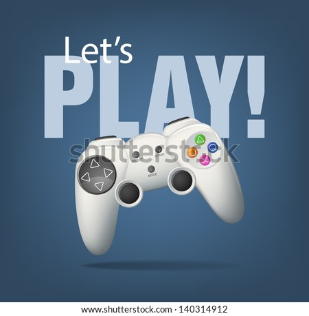 Realistic white gamepad on blue. EPS10 vector. - stock vector