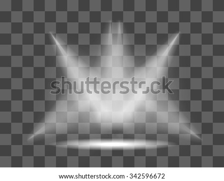 Realistic white gray glowing spotlights on transparent background. Theater studio, scene illumination. Magic, bright, gradient light effects. Vector illustration for your design and business.