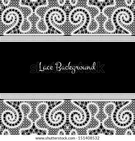 Realistic white lace on black background, vector illustration