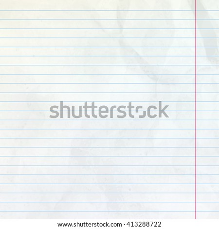 Realistic white lined sheet of notepad crumpled paper background. EPS 10 vector file included - stock vector