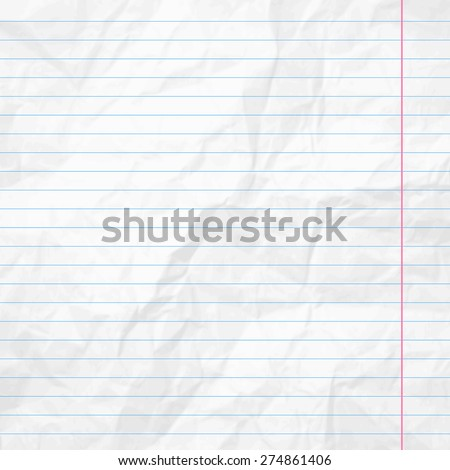 Realistic white lined sheet of notepad crumpled paper background. Vector illustration - stock vector