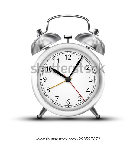 Realistic white metal alarm clocks.  Vector illustration on white background - stock vector