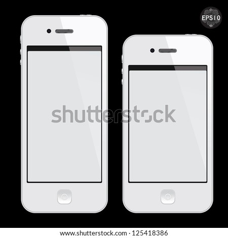 Realistic white mobile phone with blank screen isolated on black, Vector - stock vector