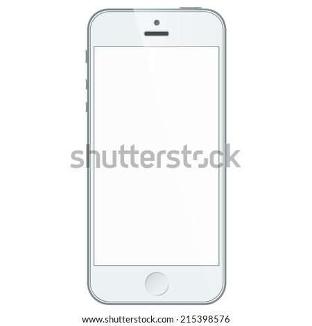 Realistic white mobile phone with blank screen isolated on white. Vector EPS10 - stock vector