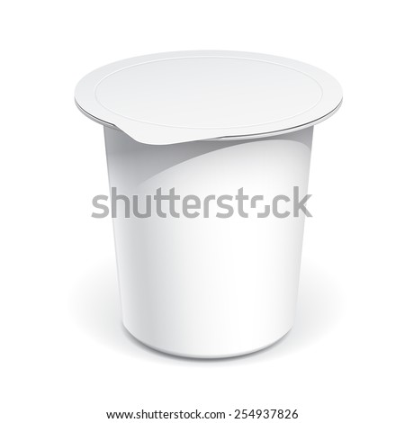 Realistic White Mock up blank plastic container for yogurt, jams and other products. - stock vector