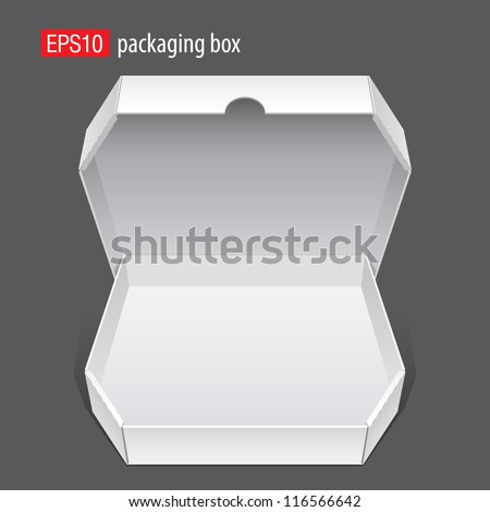 Realistic White Opened Package. Cardboard Box for pizza. isolated on white background. Vector illustration - stock vector