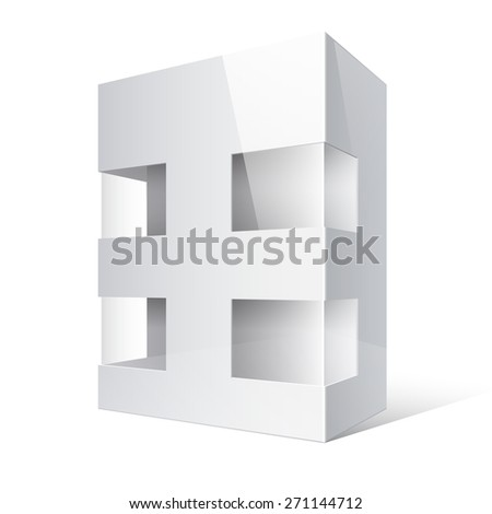 Realistic White Package Box. For electronic device, board games and other products. Vector illustration. - stock vector