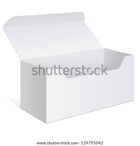 Realistic White Package Box Opened. For Software, gifts, electronic device and other things. Vector Illustration. - stock vector