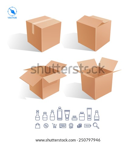 Realistic white Package Cardboard Box Opened. For Software, electronic device and other products. Vector illustration - stock vector
