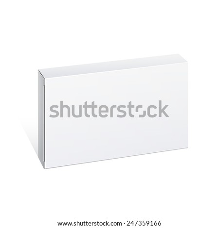 Realistic  White Package thin Cardboard Box. For any product. Vector illustration - stock vector