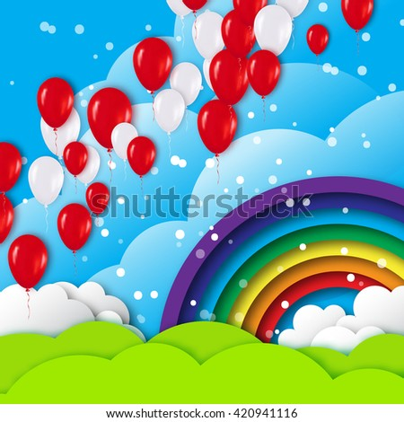 Realistic White Red 3d Balloons fly to sky. Blue sky with origami clouds and rainbow. Vector applique illustrations. - stock vector