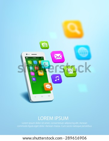 Realistic white smartphone with cloud of application colorful icons. Vector illustration - stock vector