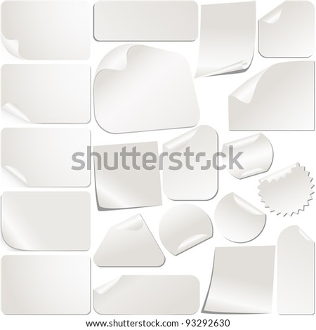 Realistic White Stickers Set Collection. Vector - stock vector