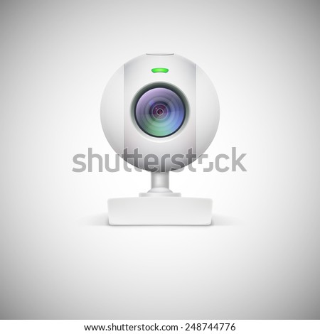 Realistic white webcam icon. Vector illustration on white background - stock vector