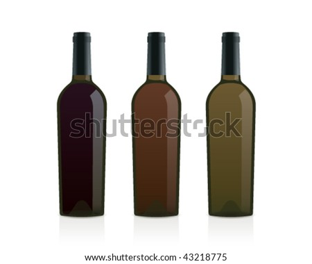 realistic wine bottles made of olive glass (red, pink and white) - stock vector