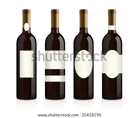 realistic wine bottles with different labels (red wine) - stock vector