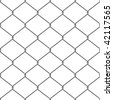 Realistic wire chainlink fence seamless vector pattern. - stock vector