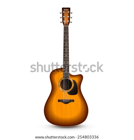 Realistic wooden acoustic guitar isolated on white background vector illustration - stock vector