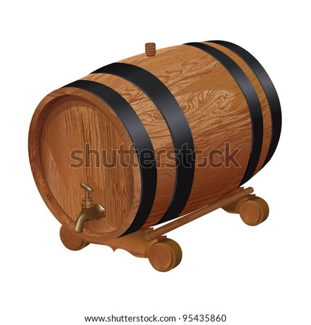 Realistic wooden barrel, isolated on white background. Vector illustration - stock vector
