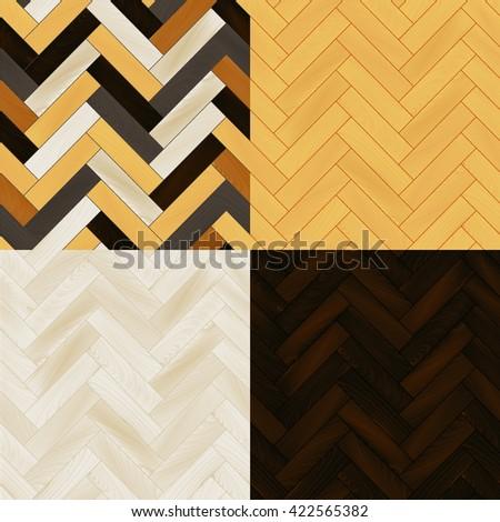Realistic wooden floor herringbone parquet seamless patterns set, vector - stock vector
