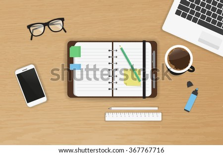 Realistic work desk organization with open diary and stickers for notes on the wooden textured table. Top view with cup of coffee, laptop, smartphone and pencil to write note and remarks - stock vector